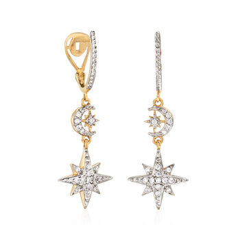 .20 ct. t.w. Diamond Star and Moon Drop Earrings in 18kt Yellow Gold Over Sterling Silver