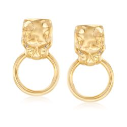 Italian 18kt Yellow Gold Over Sterling Silver Panther Head Doorknocker Earrings With CZ Accents, , default