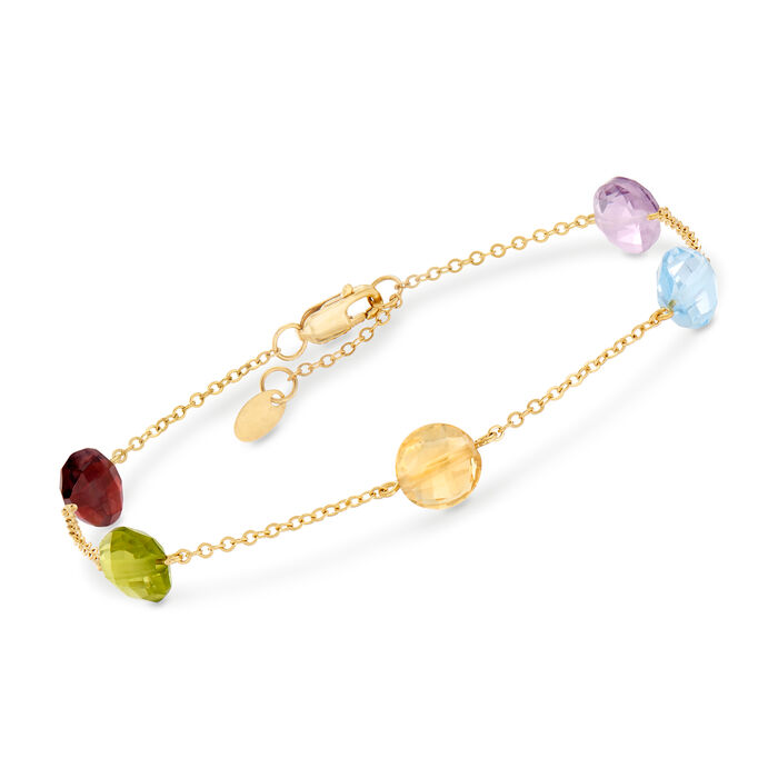 """7.80 ct. t.w. Mixed Gem Bracelet in 14kt Yellow Gold. 8"""""""
