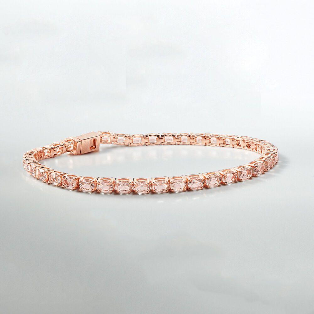 T W Morganite Tennis Bracelet In 14kt Rose Gold Over Sterling