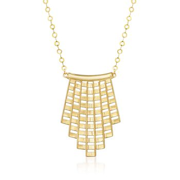 14kt Yellow Gold Fan Necklace, , default