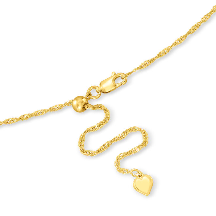 Italian 1.5mm 18kt Gold Over Sterling Adjustable Slider Singapore Chain Necklace