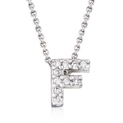 "Roberto Coin ""Tiny Treasures"" Diamond Accent Initial ""F"" Necklace in 18kt White Gold. 16"", , default"