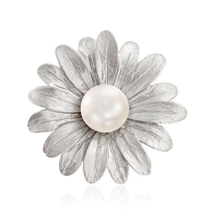 Italian 7.5-8mm Cultured Pearl Sunflower Ring in Sterling Silver