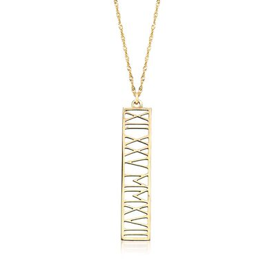 14kt Yellow Gold Roman Numeral Date Pendant Necklace, , default