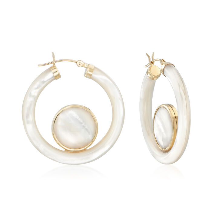 Mother-Of-Pearl Hoop Earrings in 14kt Yellow Gold. 1 3/8""