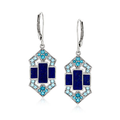 Lapis and .80 ct. t.w. Tonal Blue Topaz Drop Earrings in Sterling Silver
