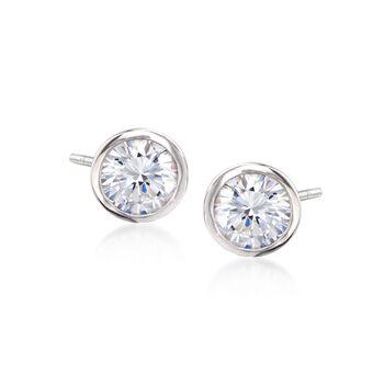 4.00 ct. t.w. Bezel-Set CZ Stud Earrings in Sterling Silver, , default