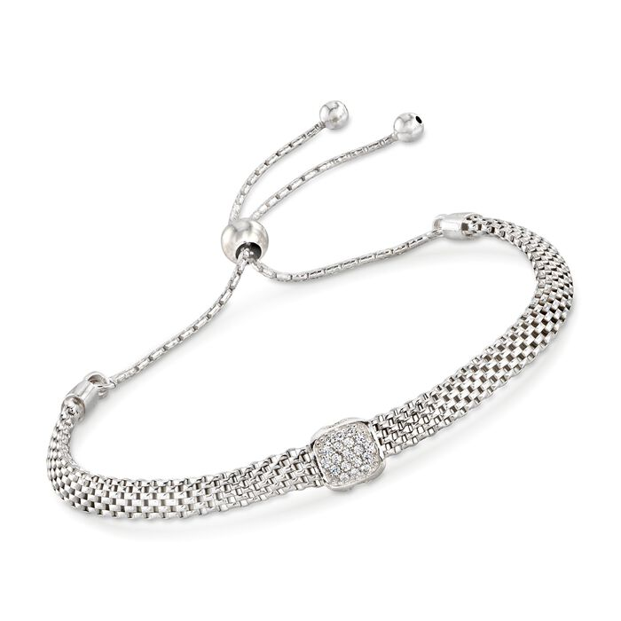 Italian Sterling Silver Mesh Bolo Bracelet with CZ Station , , default