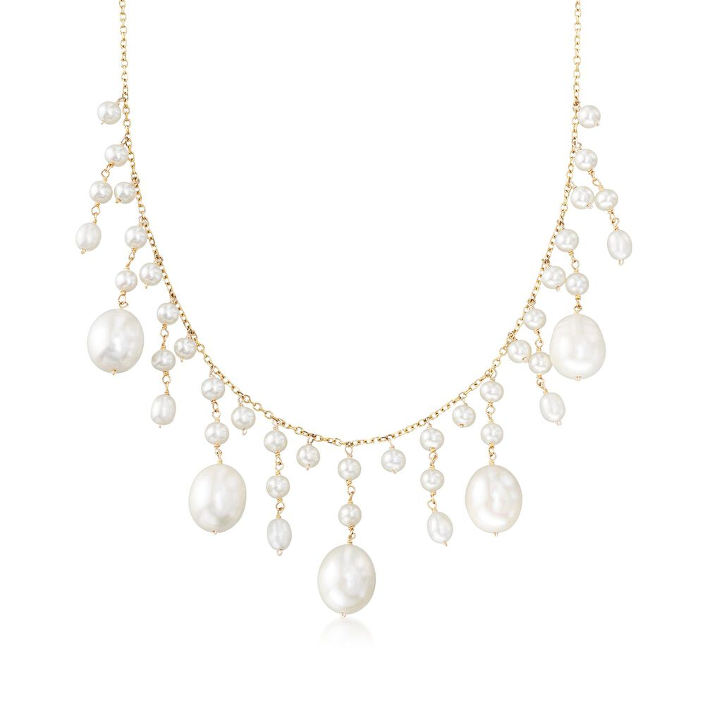 707becd41a2af 3-10mm Cultured Pearl Fringe Necklace in 14kt Yellow Gold | Ross-Simons