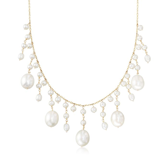 3-10mm Cultured Pearl Fringe Necklace in 14kt Yellow Gold, , default