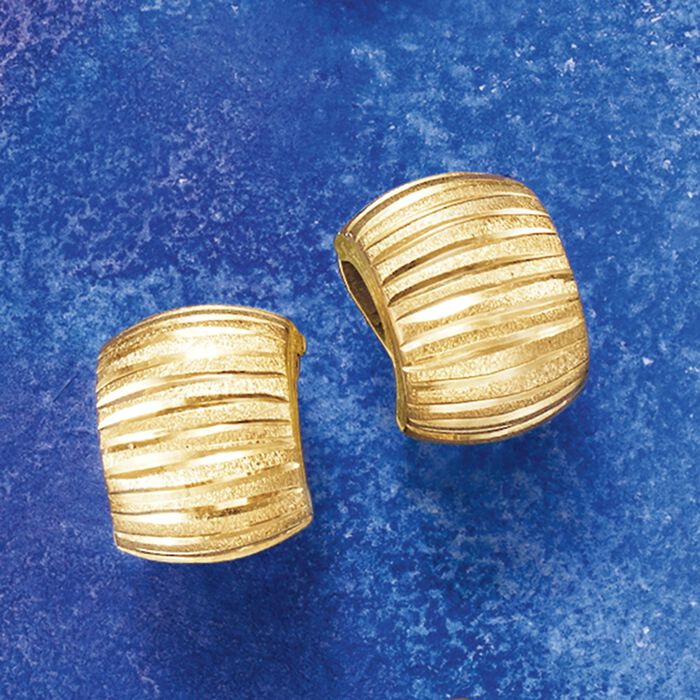 Italian 18kt Yellow Gold Diamond-Cut and Satin-Finished Hoop Earrings