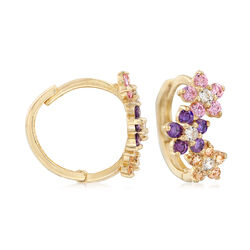 Child's .27 ct. t.w. CZ and Simulated Gemstone Flower Huggie Hoop Earrings in 14kt Yellow Gold, , default