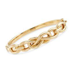 14kt Yellow Gold Figure-8 Link Bangle Bracelet, , default