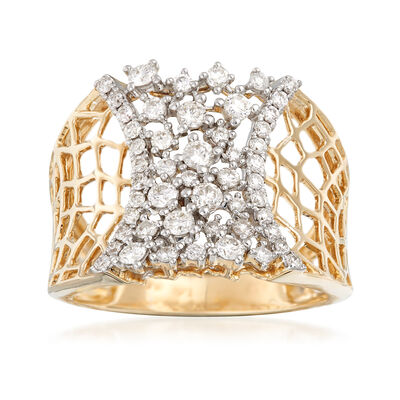 .75 ct. t.w. Diamond Honeycomb Ring in 14kt Yellow Gold, , default