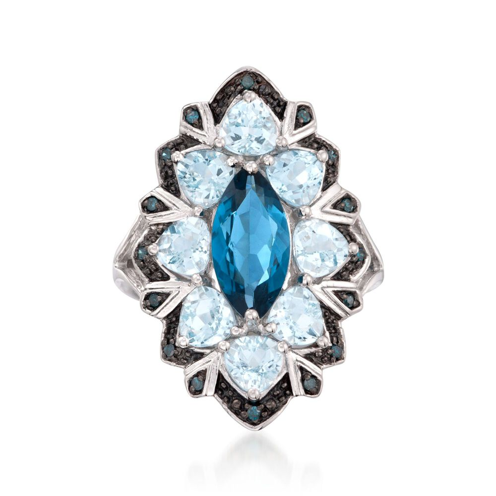 dfc171bc4 2.20 Carat London Blue Topaz and 2.50 ct. t.w. Aquamarine Ring with Blue  Diamonds in