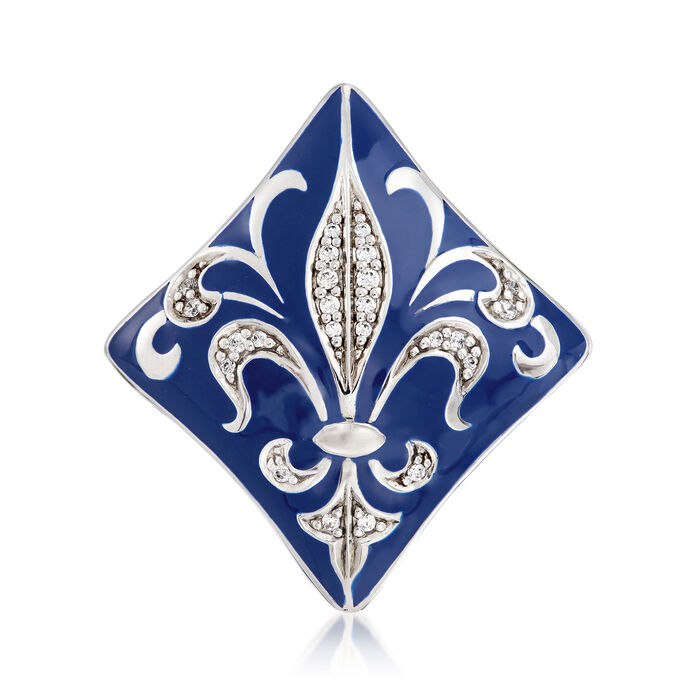 "Belle Etoile ""Josephine"" Blue Enamel and .39 ct. t.w. CZ Ring in Sterling Silver, , default"