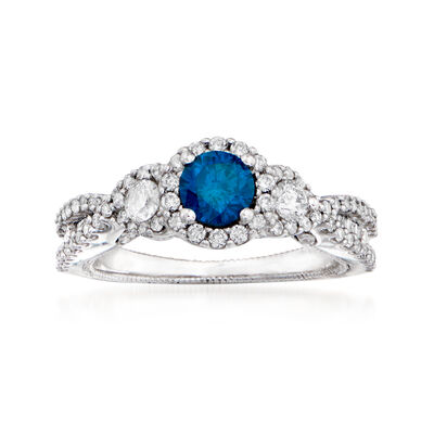 .38 Carat Blue Diamond and .46 ct. t.w. Diamond Ring in Milgrain 14kt White Gold, , default