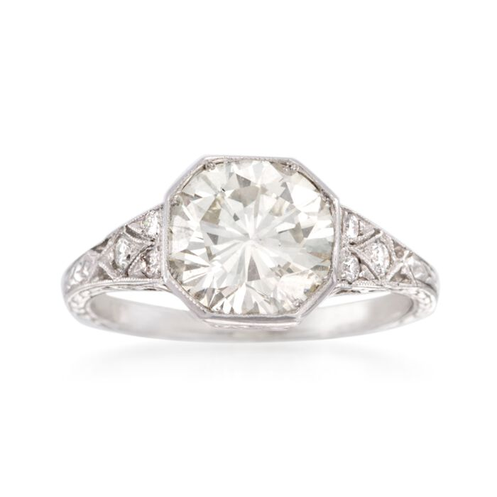 C. 2000 Vintage 2.69 ct. t.w. Diamond Ring in Platinum. Size 6.5, , default