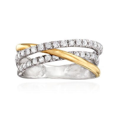 .50 ct. t.w. Diamond Crisscross Ring in Sterling Silver and 14kt Yellow Gold