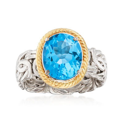 4.10 Carat Swiss Blue Topaz Byzantine Ring in Sterling Silver and 14kt Yellow Gold