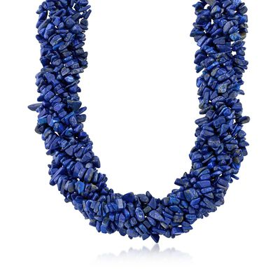 Lapis Torsade Necklace in Sterling Silver, , default