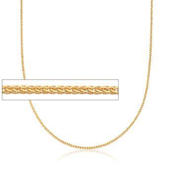Italian 1.3mm 18kt Yellow Gold Adjustable Slider Diamond-Cut Wheat Chain Necklace, , default