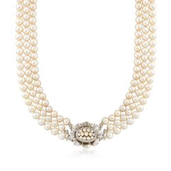 "C. 1960 Vintage 2.5-7mm Cultured Pearl and .30 ct. t.w. Diamond Three-Row Floral Necklace in 18kt White Gold. 17.5"", , default"