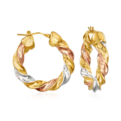 Italian Andiamo 14kt Tri-Colored Gold Twisted Hoop Earrings