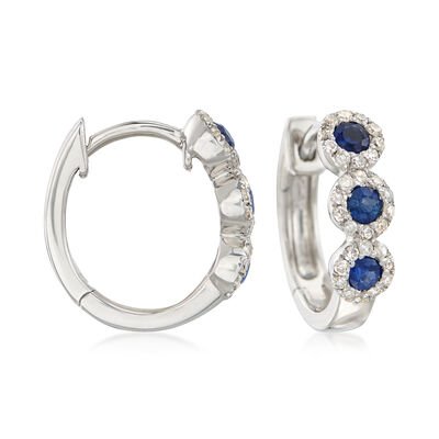 .30 ct. t.w. Sapphire and .20 ct. t.w. Diamond Huggie Hoop Earrings in 14kt White Gold , , default
