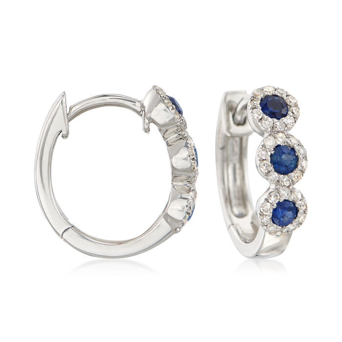 ".30 ct. t.w. Sapphire and .20 ct. t.w. Diamond Huggie Hoop Earrings in 14kt White Gold. 3/8""."