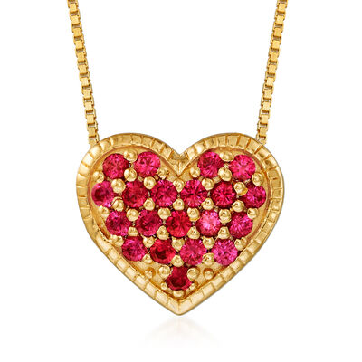 .50 ct. t.w. Simulated Ruby Heart Necklace in 18kt Gold Over Sterling