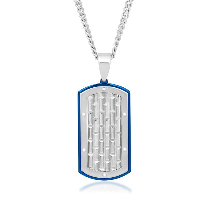 """Men's White and Blue Stainless Steel Brick-Patterned Dog Tag Pendant Necklace. 24"""", , default"""