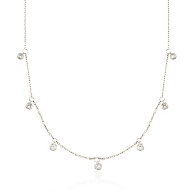 .25 ct. t.w. Bezel-Set Diamond Dangle Necklace in Sterling Silver, , default