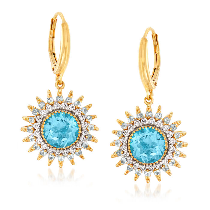 5.40 ct. t.w. Blue Topaz and .50 ct. t.w. Diamond Sun Drop Earrings in 18kt Gold Over Sterling