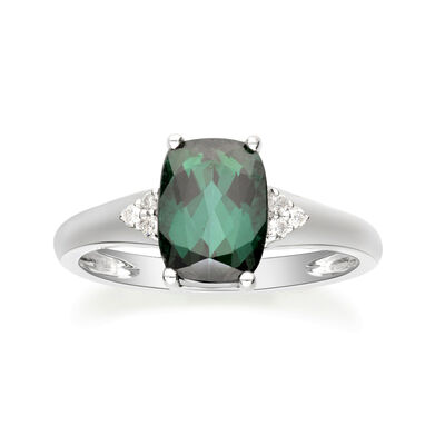 2.00 Carat Green Tourmaline Ring with Diamond Accents in 14kt White Gold