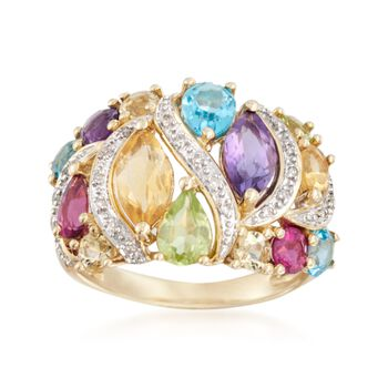 2.70 ct. t.w. Multi-Stone Ring With Diamond Accents in 14kt Yellow Gold, , default