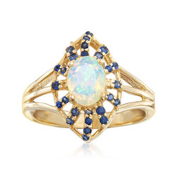 Opal and .80 ct. t.w. Sapphire Ring in 14kt Yellow Gold, , default