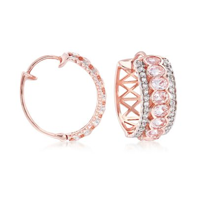 2.80 ct. t.w. Morganite and .60 ct. t.w. White Zircon Hoop Earrings in 18kt Rose Gold Over Sterling Silver, , default