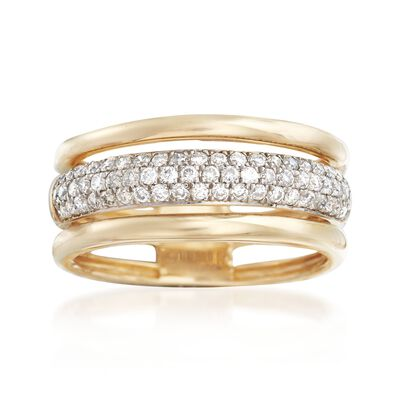 .50 ct. t.w. Pave Diamond Triple-Row Ring in 14kt Yellow Gold, , default