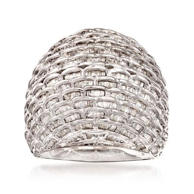 2.00 ct. t.w. Diamond Basketweave Dome Ring in Sterling Silver, , default