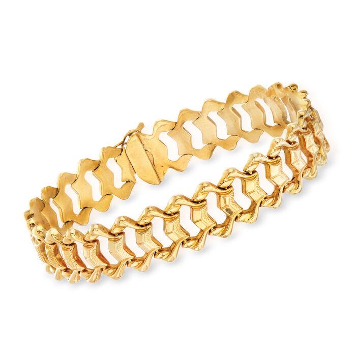 """C. 1970 Vintage 18kt Yellow Gold Fancy Link Bracelet. 7.5"""", , default"""