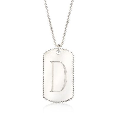Italian Sterling Silver Single Initial Tag Necklace, , default
