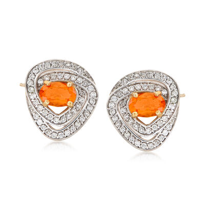 Fire Opal and .40 ct. t.w. White Zircon Earrings in 18kt Gold Over Sterling, , default