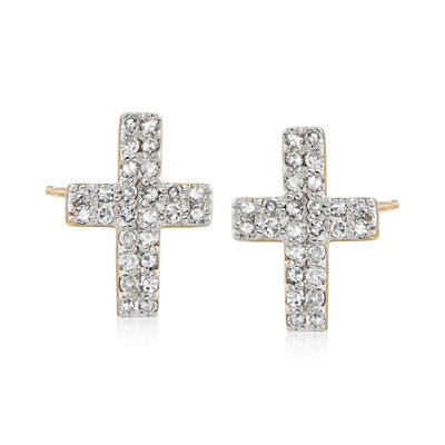 .28 ct. t.w. Diamond Cross Earrings in 14kt Yellow Gold , , default