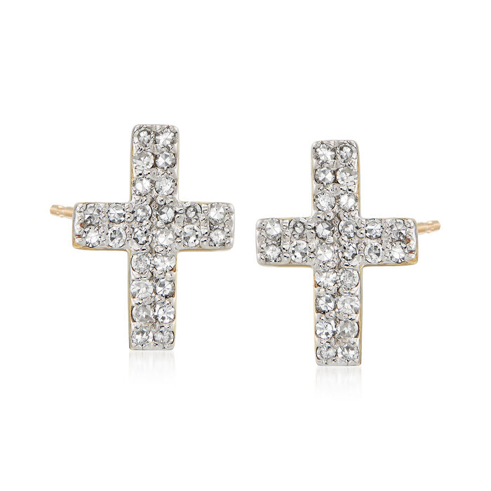 .28 ct. t.w. Diamond Cross Earrings in 14kt Yellow Gold, , default