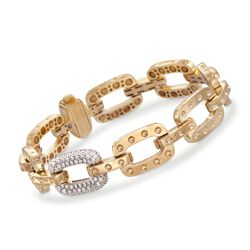 "Roberto Coin ""Pois-Moi"" .90 ct. t.w. Diamond Dotted Link Bracelet in 18kt Yellow Gold. 7"", , default"
