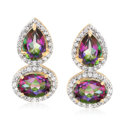3.40 ct. t.w. Multicolored Topaz and .30 ct. t.w. White Zircon Drop Earrings in 18kt Gold Over Sterling , , default