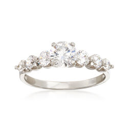 1.43 ct. t.w. CZ Multi-Stone Ring in 14kt White Gold, , default