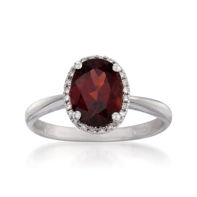 2.00 Carat Garnet Ring with Diamonds in 14kt White Gold, , default